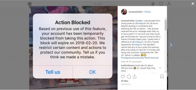 Instagram action blocked